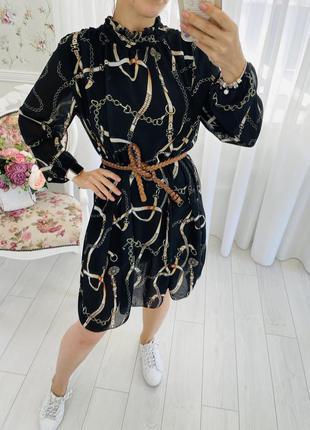 Итальянское платье с длинным рукавом в стиле massimo dutti