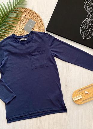 Синий подростковый хлопковый реглан кофта для мальчика piazza italia италия