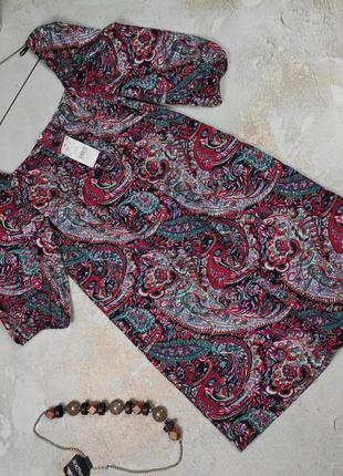 Платье мини новое легкое в принт uk 12/40/m