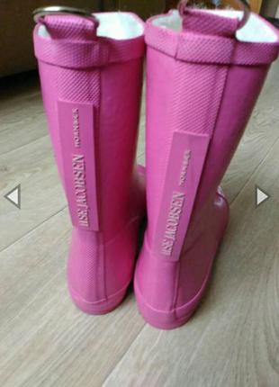 Резиновые сапоги ilse jacobsen розового цвета, утеплённые, на войлоке размер 35,5- 36