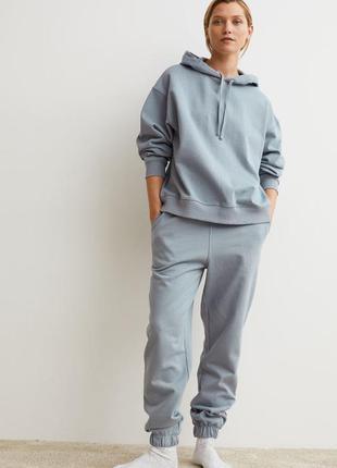 Спортивный хлопковый прогулочный костюм худи+джоггеры