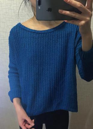 Синий свитер кофта свитшот джемпер реглан кардиган