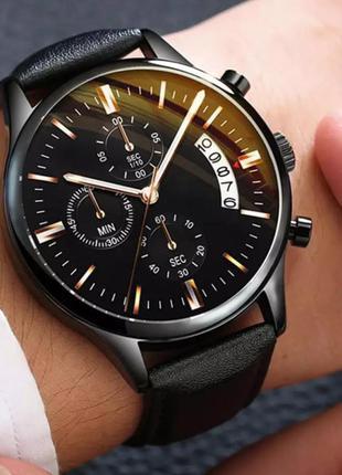 Часы мужские дата работает чёрный корпус