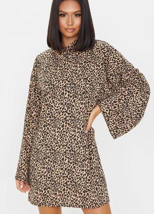 Pretty little thing платье леопардовое под горло оверсайз свободное новое прямое трапеция