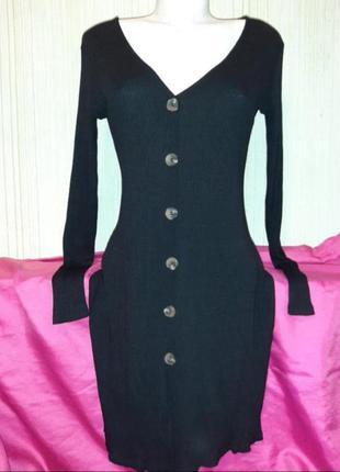 Трикотажное платье рубчик с пуговицами