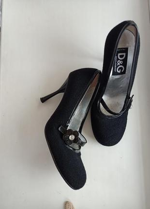 Dolce & gabbana винтажные туфли на высоком каблуке шерсть кожа /38.5