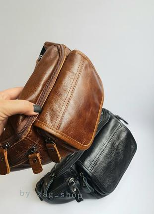 New💣мужская кожаная бананка сумка слинг через плечо коричневая нагрудная сумка из кожи поясная сумка натуральна шкіра