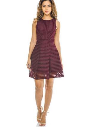 Ax paris платье бордо винное марсала кружевное со свободной юбкой большое батал миди