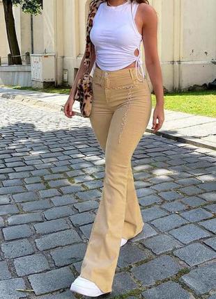 Бежеві вельветові штани кльош ральф лорен