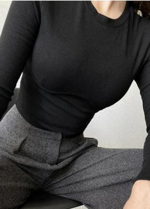 Чёрный лонгслив рубчик с имитацией косточек кофточка рубчик, турция