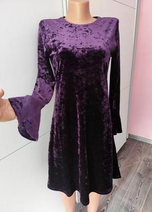 Платье бархатное велюровое фиолетового цвета  рукав 3/4 расклешенное мини миди market spruce s m нарядное