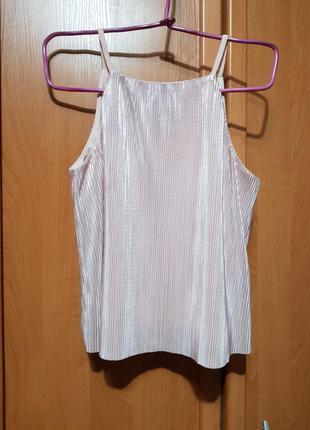 Стильная бежево-перламутровая майка-блуза, нарядная маечка-блузка в плиссе
