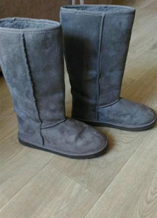 Зимние тёплые  серые сапоги угги, размер 39