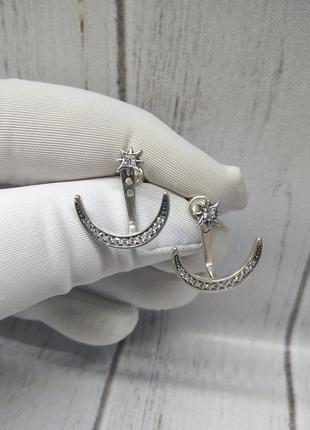 Серьги гвоздики серебро 925 сережки джекеты трансформеры дуга