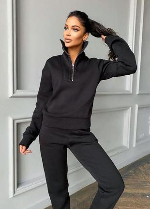 Черный теплый костюм на замочке