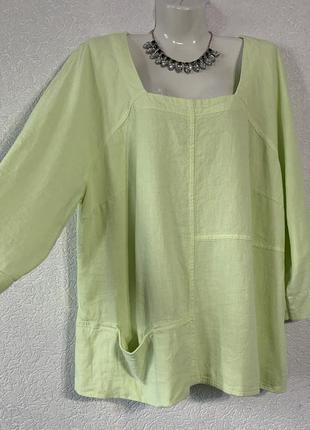 Льняная рубашка кофта большой размер батал блуза зеленая салатная кофта лен