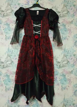 Платье в стиле готика, карнавальный костюм на хэллоуин, платье королевы