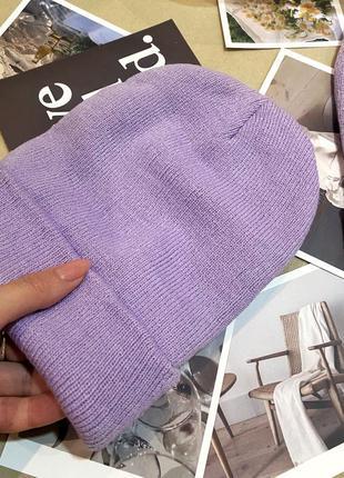 Шапка женская бини лавандовый цвет, фиолетовый, сиреневый