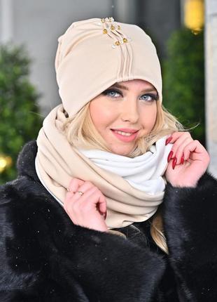 Комплект (набор) шапка с шарфом (снуд, хомут)