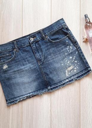 Джинсовая синяя мини юбка, рваный низ old navy, спідниця