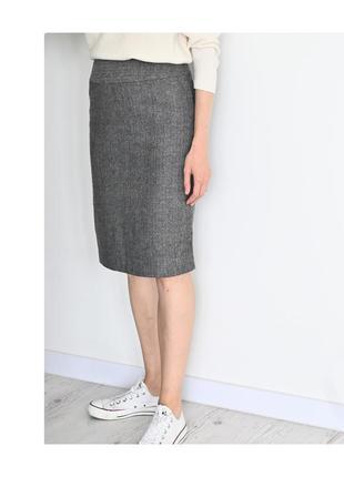 Твидовая юбка карандаш. теплая миди. серая юбка футляр на осень. сіра спідниця