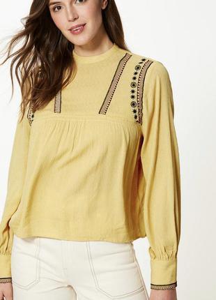 Блуза натуральная из вискозы в этно стиле marks&spencer uk 10/38/s