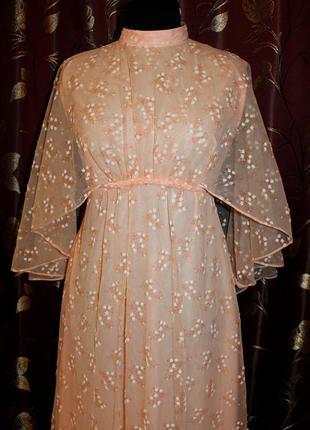Винтажное ретро макси платье принт ландыши