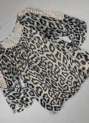 Блуза кофточка красивая в принт шелковая итальянская uk 12-14
