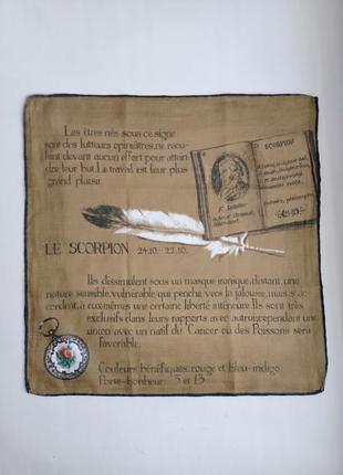 Редкий винтаж батистовый носовой платочек гороскоп скорпион