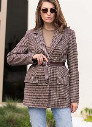 Твидовый пиджак гусиная лапка с карманами однобортный с воротником