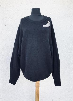 Шикарный чёрный базовый свитер