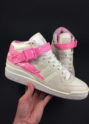 Adidas forum mid kawaii кожаные кроссовки хайтопи оригинал