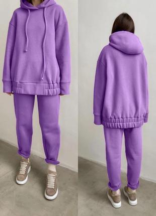 Женский спортивный костюм комплект худи с капюшоном штаны на флисе тёплый зимний оверсайз лиловый фиолетовый сирень удлиненный длинный
