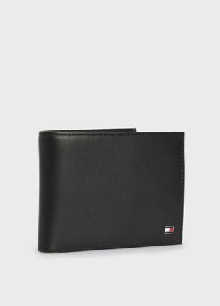 Черный кожаный кошелек tommy hilfiger am0am00651