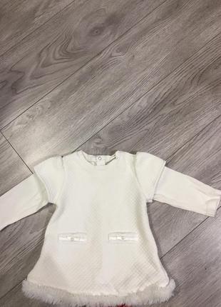 Тёплая кофта туника платье 68-74 р