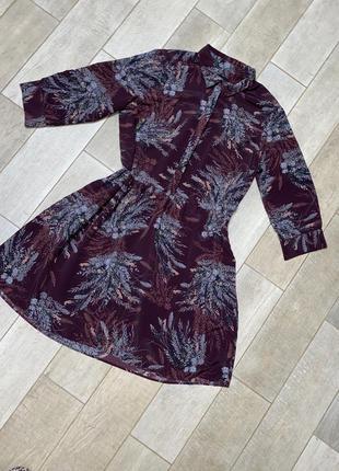 Фиолетовое объёмное мини платье,цветочный принт,большой размер,батал(14)