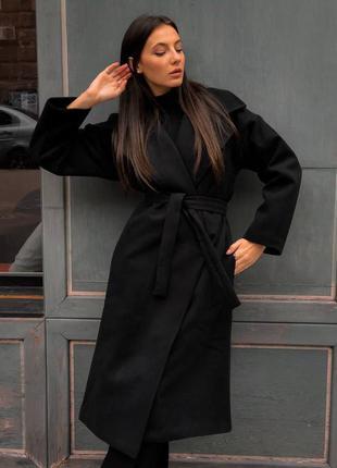 Женское чёрное кашемировое пальто зима - весна