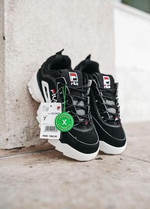 Женские кроссовки fila disruptor 2 black \ white скидка sale | жіночі кросівки чорні знижка