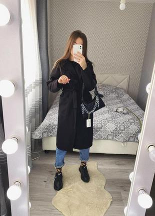 Новое черное пальто на запах осень весна