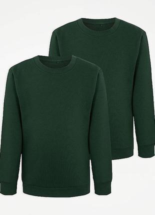 Теплая кофта, свитшот для мальчика george 7-8, 8-9, 9-10 лет, цвет темнозеленый