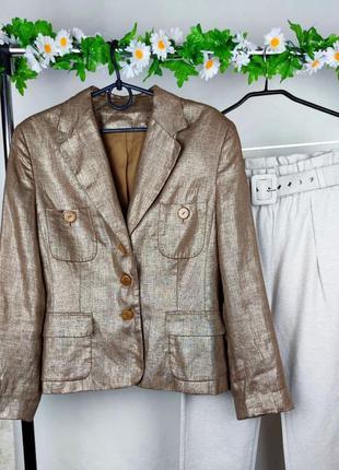 Красивый стильный пиджак лен этикетка
