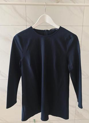 Темно синяя удлиненная блуза -туника zara