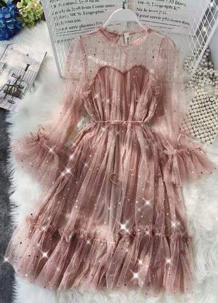 Нарядное сверкающее платье со звёздочками✨