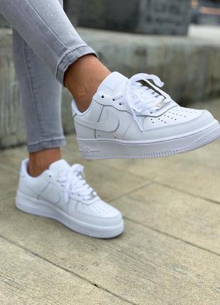 Новые женские на осень кожаные белые кроссовки nike air force whire