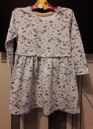 🌿 хлопковое платье в единорожки для девочки