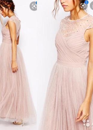 Вечернее пудровое фатиновое платье макси little mistress,свадебное фатин