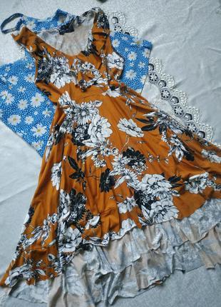 Натуральное платье миди с воланами в цветочный принт из вискозы