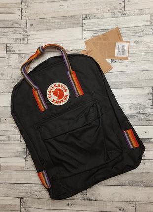 Акция! рюкзак канкен черный с радужными ручками, fjallraven kanken black rainbow, радужные, цветные, радуга, школьный, шкільний портфель, черний