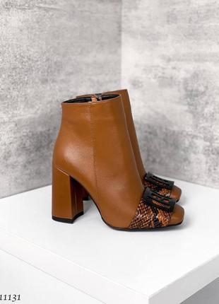 🍁женские ботильоны на каблуке с украшением в натуральной коже