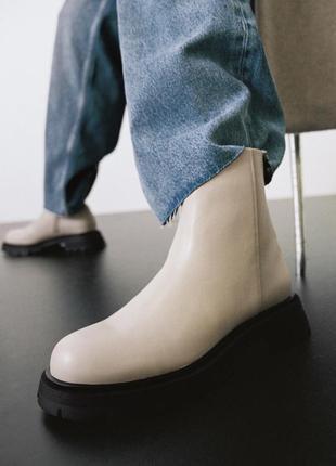 Кожаные ботинки zara на рифлёной платформе